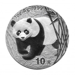 Moneda China 10 Yuan Año 2002 Plata Panda Proof