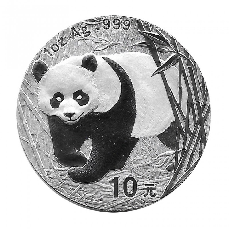 Moneda China 10 Yuan Año 2002 Plata Panda Proof