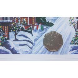 Tarjeta de Navidad Año 2003 Gibraltar 50 Peniques Moneda