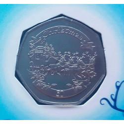 Weihnachtskarte Jahr 2008 Gibraltar 50 Pfennige Münzen