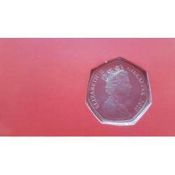 Tarjeta de Navidad Año 2010 Gibraltar 50 Peniques Moneda