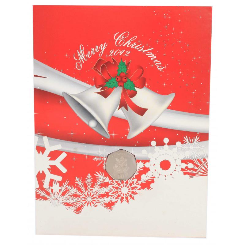 Weihnachtskarte Jahr 2012 Gibraltar 50 Pfennige Münze
