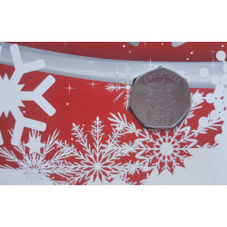 Tarjeta de Navidad Año 2012 Gibraltar 50 Peniques Moneda