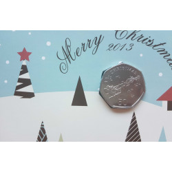 Christmas Card Year 2013 Gibraltar 50 Pence Coin