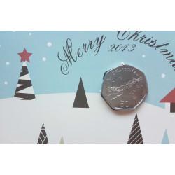 Weihnachtskarte Jahr 2013 Gibraltar 50 Pfennige Münze