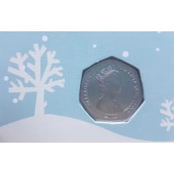 Tarjeta de Navidad Año 2013 Gibraltar 50 Peniques Moneda