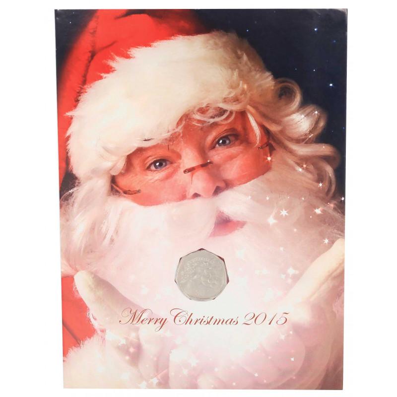 Christmas Card Year 2015 Gibraltar 50 Pence Coin