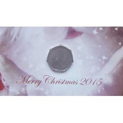 Tarjeta de Navidad Año 2015 Gibraltar 50 Peniques Moneda