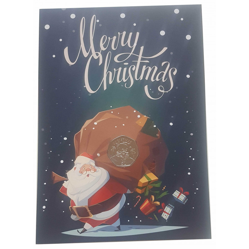 Weihnachtskarte Jahr 2017 Gibraltar 50 Pfennige Münze