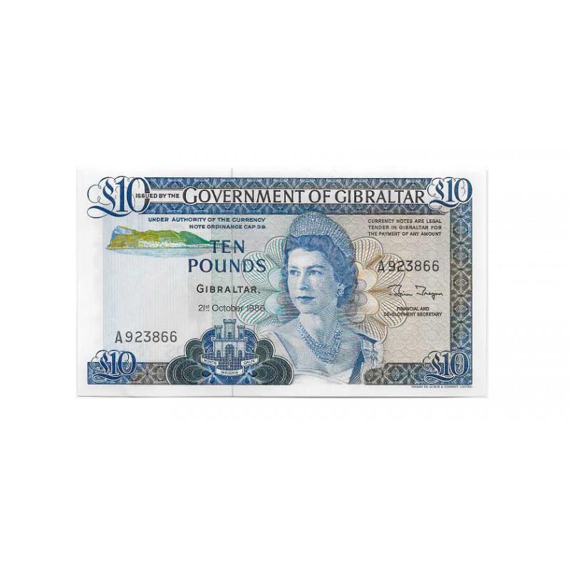 Banknote Gibraltar Jahr 1986 10 Pfund Unzirkuliert UNC