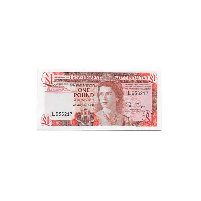 Billete de Gibraltar Año 1988 1 Libra Sin Circular UNC