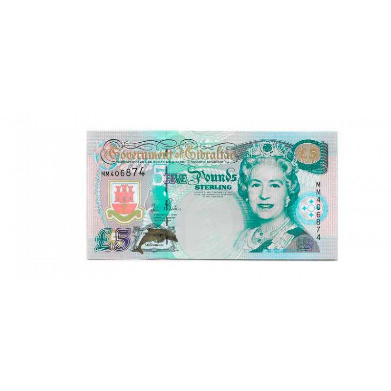 Banknote Gibraltar Jahr 2000 5 Pfund Unzirkuliert UNC