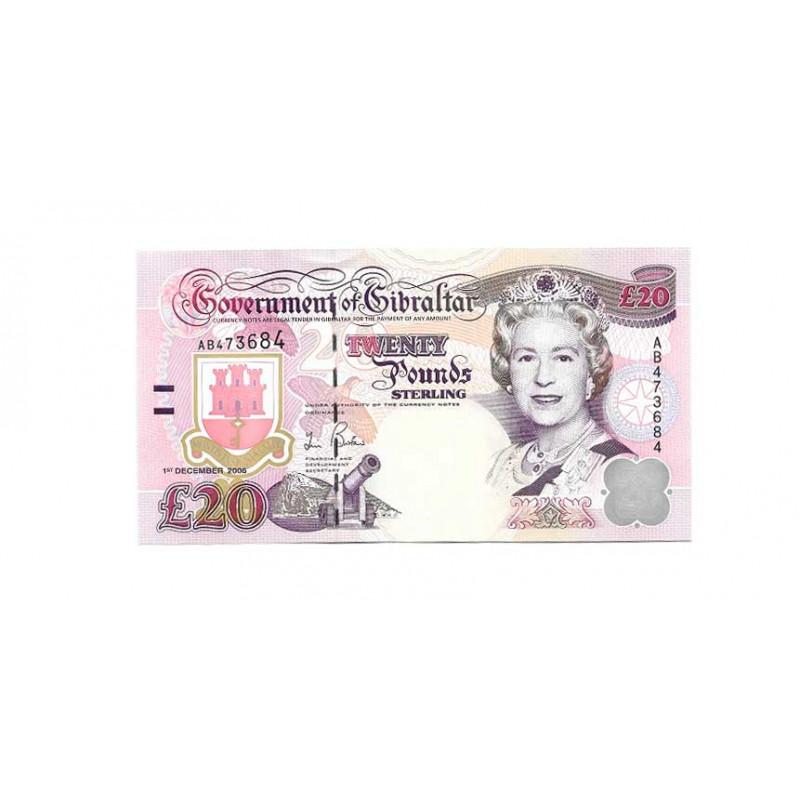 Billete de Gibraltar Año 2006 20 Libras Sin Circular UNC