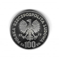 Münze Polen Jahr 1977 100 Złote Reymont Silber Proof PP