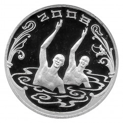 Coin Russia 2008 3 Rubles Oly Beijing Synchronized Swimming Silver Proof PP
