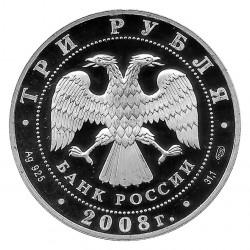 Moneda de Rusia 2008 3 Rublos Natación Sincronizada Oly Beijing Plata Proof PP