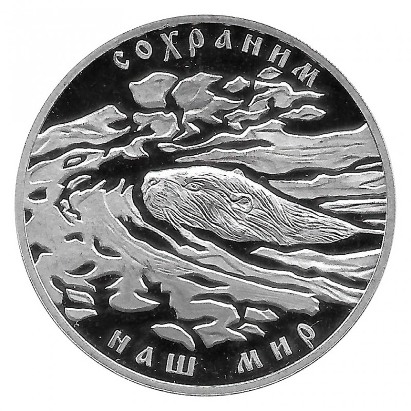 Münze Russland 2008 3 Rubel Biber Silber Proof PP