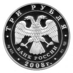Moneda de Rusia 2008 3 Rublos Castor Plata Proof PP