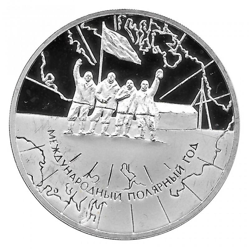 Moneda de Rusia 2007 3 Rublos Estación de Investigación del Año Polar Plata Proof PP