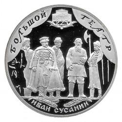 Moneda de Rusia 2001 3 Rublos 225 Años Teatro Bolshoi Plata Proof PP