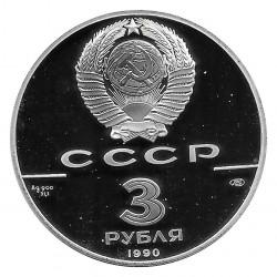 Münze Russland 1990 3 Rubel James Cook Silber Proof PP
