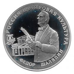 Moneda de Rusia 1993 3 Rublos Fiódor Chaliapin Plata Proof PP