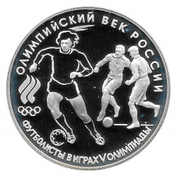 Coin Russia 1993 3 Rubles Football Players Silver Proof PP
