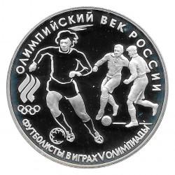 Münze Russland 1993 3 Rubel Fussballspieler Silber Proof PP