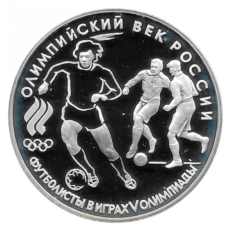 Moneda de Rusia 1993 3 Rublos Jugadores Fútbol Plata Proof PP
