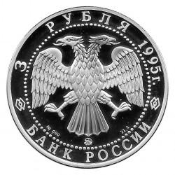 Moneda de Rusia 1995 3 Rublos 1000 Años Belgorod Plata Proof PP