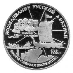Moneda de Rusia 1995 3 Rublos Expedición al Ártico Plata Proof PP