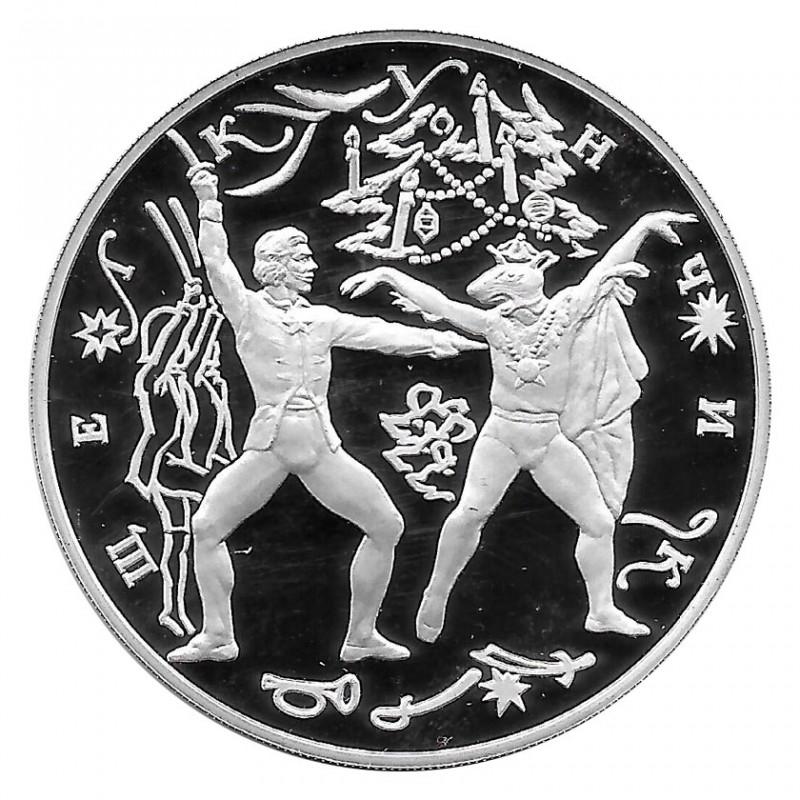 Moneda de Rusia 1996 3 Rublos Cascanueces Ballet Ruso Plata Proof PP