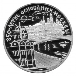Münze Russland 1997 3 Rubel 850 Jahre Moskau Flubseite Silber Proof PP