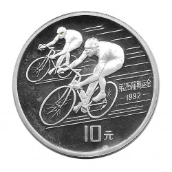 Coin China 10 Yuan Year 1990 Silver Proof Bicycle Racers