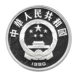 Münze China 10 Yuan Jahr 1990 Silber Proof Fahrradrennfahrer