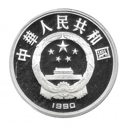 Moneda China Año 1990 Plata 10 Yuan Corredores Bicicleta Proof