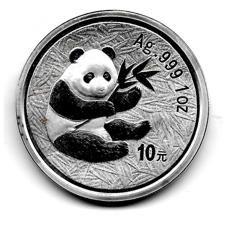 Münze China 10 Yuan Jahr 2000 Silber Panda Proof