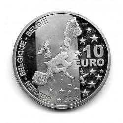 Moneda Bélgica 10 euros Año 2003 Georges Simenon Plata Proof