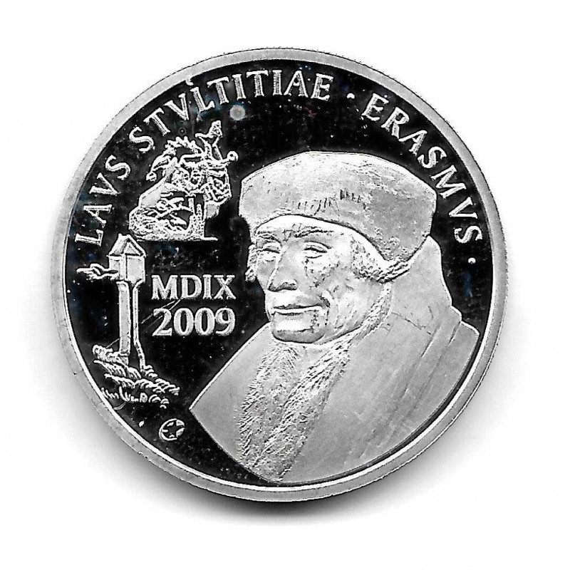Coin Belgium 10 Euros Year 2009 Erasmus of Rotterdam Silver Proof
