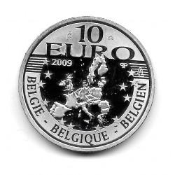 Moneda Bélgica 10 euros Año 2009 Erasmo de Róterdam Plata Proof