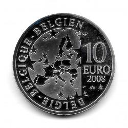 Moneda Bélgica 10 euros Año 2008 El Pájaro Azul Plata Proof