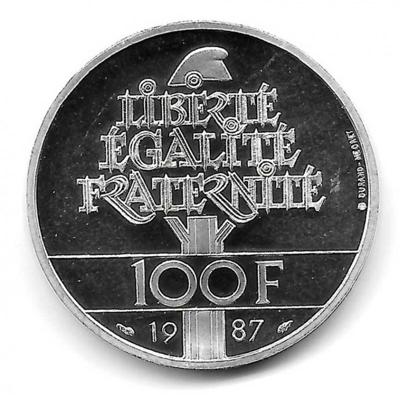 Moneda Francia 100 Francos Año 1987 General La Fayette Plata Proof