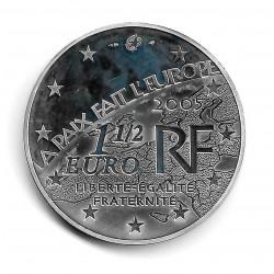 """Münze Frankreich 1,5 Euros Jahr 2005 60 Jahre Frieden """"Europa Stern"""" Silber Proof"""