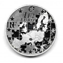 Coin France 1.5 Euro Year 2004 Enlargement European Union Silver Proof