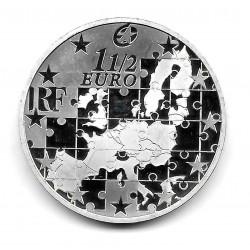 Moneda Francia 1,5 Euros Año 2004 Ampliación Unión Europea Plata Proof