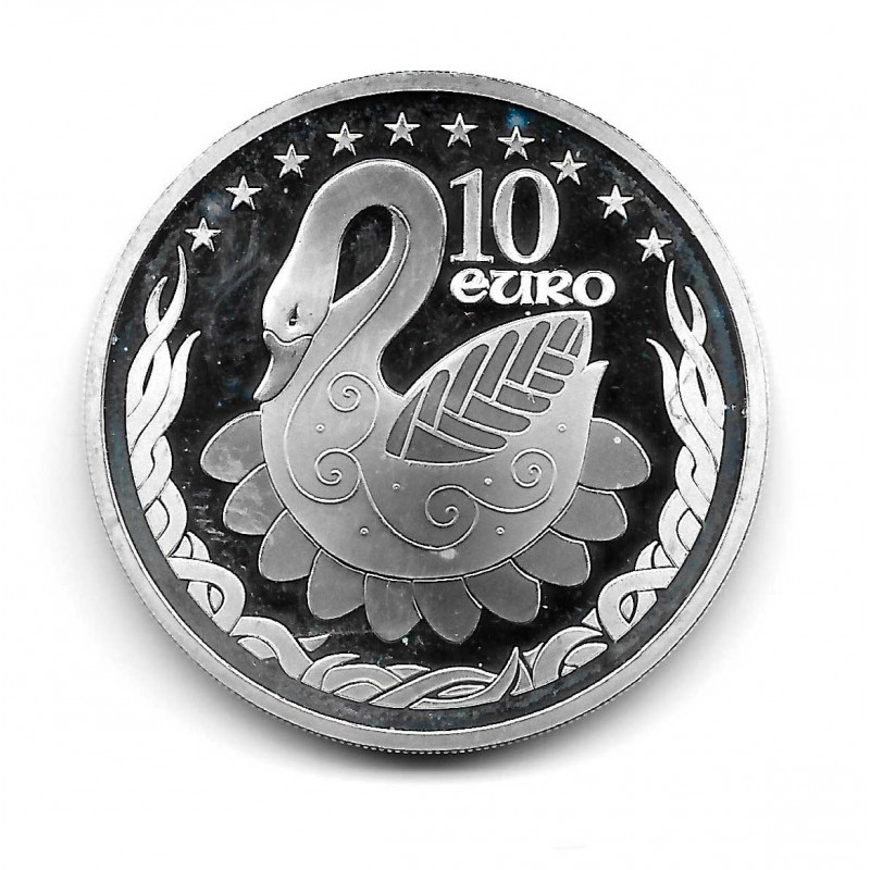 Moneda Irlanda 10 Euros Año 2004 Extensión Cisne en Europa Plata Proof