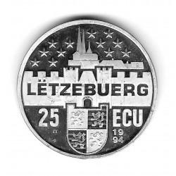 Moneda Luxemburgo 25 ECU Año 1994 Charlotte por una Europa Libre Plata Proof