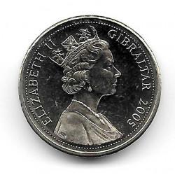 Münze Gibraltar 1 Pfund Jahr 2005 Neandertaler-Schädel