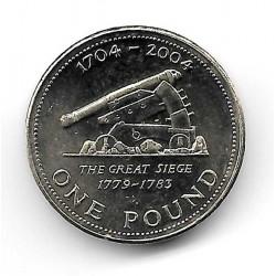 Münze Gibraltar 1 Pfund Jahr 2004 Geschützrohr Die Große Belagerung 1779-1783