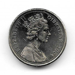 Moneda Gibraltar 1 Libra Año 2004 Cañon El Gran Asedio 1779-1783